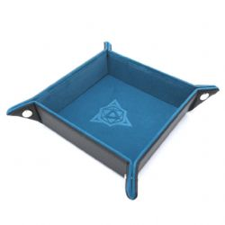 PORTABLE DICE TRAY -  FOLDING SQUARE TRAY - TEAL VELVET -  DIE HARD