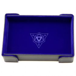 PORTABLE DICE TRAY -  MAGNETIC RECTANGLE TRAY - BLUE VELVET -  DIE HARD
