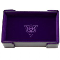PORTABLE DICE TRAY -  MAGNETIC RECTANGLE TRAY - PURPLE VELVET -  DIE HARD