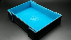 PORTABLE DICE TRAY -  MAGNETIC RECTANGLE TRAY - TEAL VELVET -  DIE HARD