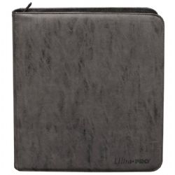 PORTFOLIO -  SUEDE (JET GREY) 4-UP PRO-BINDER WITH ZIPPER THAT HOLDS 480 CARDS