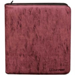PORTFOLIO -  SUEDE (RUBY) 4-UP PRO-BINDER WITH ZIPPER THAT HOLDS 480 CARDS