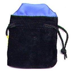 POUCH -  BLACK VELVET DICE POUCH - BLUE INTERIOR SMALL