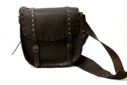POUCHES -  MESSENGER'S BAG STIFF LEATHER -  BROWN