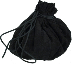 POUCHES -  ROUND LEATHER BAG - BLACK