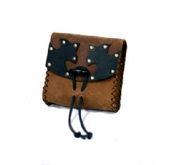 POUCHES -  SMALL PEASANT PURSE - BROWN  BROWN