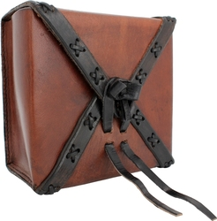 POUCHES -  SQUARE LEATHER BAG - BROWN