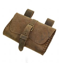 POUCHES -  SQUARE POUCH - BROWN