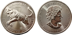 PREDATORS -  COUGAR - ONE OUNCE FINE SILVER COIN -  2016 CANADIAN COINS 01
