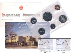 PROOF-LIKE SETS -  1977 UNCIRCULATED PROOF-LIKE SET - DETACHED JEWELS, SHORT WATER LINES -  1977 CANADIAN COINS 25