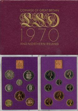 PROOF SETS -  1970 PROOF SET -  1970 GREAT BRITAIN AND NORTHERN IRELAND COINS