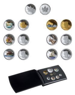 PROOF SETS (DELUXE EDITION) -  COLOURISED CLASSIC CANADIAN COIN AND MEDALLION SET -  2019 CANADIAN COINS 12