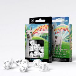 Q WORKSHOP -  BRIGHT WHITE AND BLACK DICE SET (7) -  LLAMA