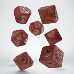 Q WORKSHOP -  RED AND GOLD DICE SET (7) -  DRAGONS