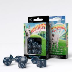 Q WORKSHOP -  SHIMMERING BLUE AND WHITE DICE SET (7) -  LLAMA
