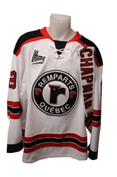 QUEBEC REMPARTS -  2013-14 ADAM CHAPMAN #63 WHITE GAME-USED JERSEY SIZE 56