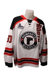 QUEBEC REMPARTS -  2013-14 CALLUM BOOTH #30 WHITE GAME-USED JERSEY SIZE 58