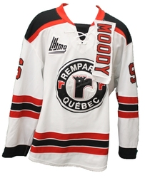 QUEBEC REMPARTS -  2014-15 ZACHARY MOODY #96 WHITE GAME-USED JERSEY SIZE 54
