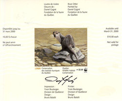 QUEBEC WILDLIFE HABITAT CONSERVATION -  1999 RIVER OTTER (SIGNED) - WWF (WITH SURCHARGE) 12