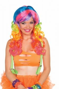RAINBOW SWIRL CURLY COSTUME WIG - MULTICOLOR