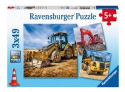 RAVENSBURGER -  DIGGER AT WORK! (3X49 PIECES) - 5+
