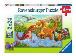RAVENSBURGER -  DINOSAURS AT PLAY (2X24 PIECES) - 5+