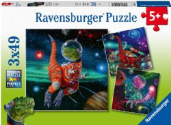 RAVENSBURGER -  DINOSAURS IN SPACE (3X49 PIECES) - 5+