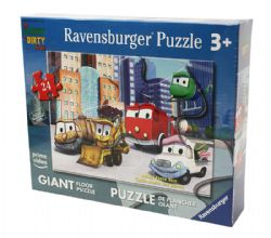RAVENSBURGER -  STINKY AND DIRTY WITH THEIR VEHICLE FRIENDS (24 PIECES) -  FLOOR PUZZLE