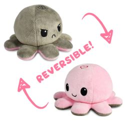 REVERSIBLE PLUSHIES -  GRAY WITH BROKEN HEART AND PINK WITH HEART -  OCTOPUS