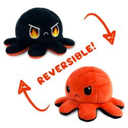 REVERSIBLE PLUSHIES -  ORANGE AND BLACK WITH FIRE EYES -  OCTOPUS