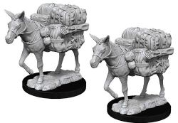 ROLEPLAYING MINIATURES -  PACKED MULE FIGURES (2) -  NOLZUR'S MARVELOUS MINIATURES
