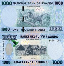 RWANDA -  1000 FRANCS 2015 (UNC)