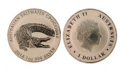 SALTWATER CROCODILE - 1 OUNCE FINE SILVER COIN -  2014 AUSTRALIA COINS