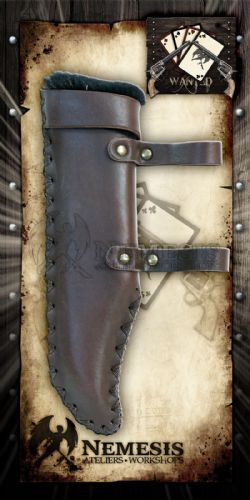 SCABBARDS -  BLACK LEATHER - BOWIE KNIFE