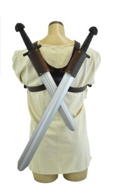 SCABBARDS -  DOUBLE LEATHER BACK SCABBARDS - BROWN (LARGE)