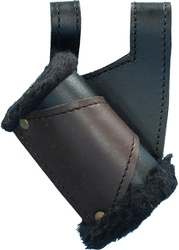 SCABBARDS -  LEFT HAND LEATHER SWORD HOLDER WITH FUR TRIM - BLACK AND BROWN