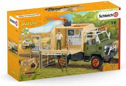 SCHLEICH FIGURE -  BIG TRUCK ANIMAL RESCUE -  WILD LIFE 42475