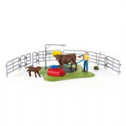 SCHLEICH FIGURE -  HAPPY COW WASH -  FARM WORLD 42529
