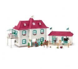 SCHLEICH FIGURE -  LARGE HORSE STABLE WITH HOUSE & STABLE -  HORSE CLUB 42416