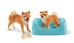 SCHLEICH FIGURE -  SHIBA INU MOTHER AND PUPPY -  FARM LIFE 42479