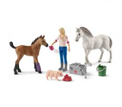 SCHLEICH FIGURE -  VET VISITING MARE AND FOAL -  FARM WORLD 42486