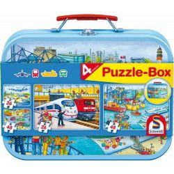 SCHMIDT PUZZLE -  VEHICLES TIN (2X26 + 2X48 PIECES) -  PUZZLE-BOX