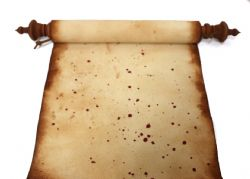 SCROLL -  SCRIBE - SIMPLE - BLOOD STAINS (11.5 X 48)