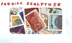 SCULPTURE -  100 ASSORTED STAMPS - SCUPLTURES