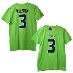 SEATTLE SEAHAWKS -  RUSSELL WILSON #3 T-SHIRT GREEN