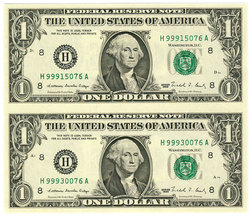 SHEET OF 2  1 DOLLAR BILLS