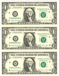 SHEET OF 3 1 DOLLAR BILLS