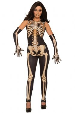 SKELETON -  LADY BONES COSTUME (ADULT - ONE SIZE FITS UP TO A SIZE 12)