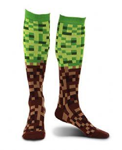 SOCKS -  PIXEL BRICK KNEE-HIGH SOCKS - GREEN/BROWN (SIZE 7-11) -  SOCK ATTACK
