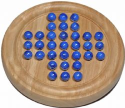 SOLITAIRE -  WOOD GAME WIHT BLUE MARBLES (9
